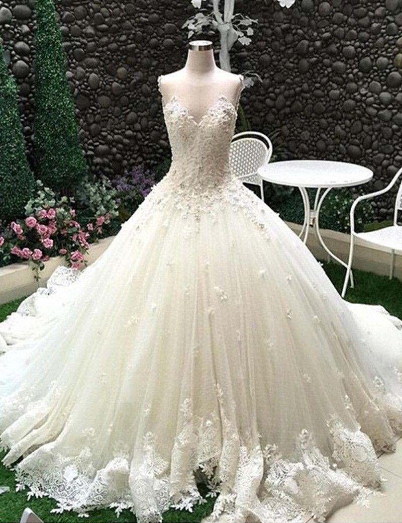 Ballkleid Kathedrale Schleppe Tüll Brautkleid Hochzeitskleid