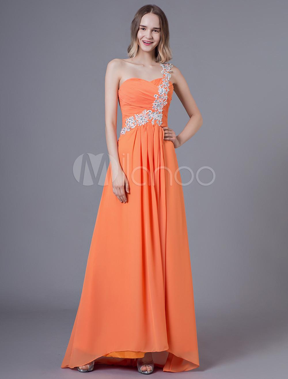 Ballkleider A-Linie- Ball Kleider Orange Hochzeit Chiffon Abschlusskleider  Ärmellos Formelle Kleider Herz-Ausschnitt Mit Schnürung Und Schleppe