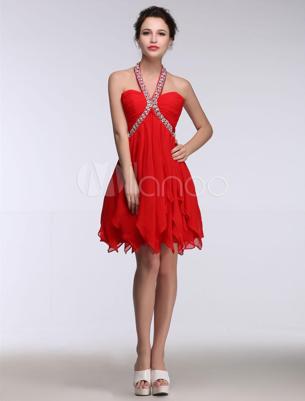 Ballkleider Rot Ball Kleider Chiffon Hochzeit A-Linie- Cocktailkleider  Mini-Kleid Mit Halter Ärmellos Formelle Kleider Und Reißverschluss