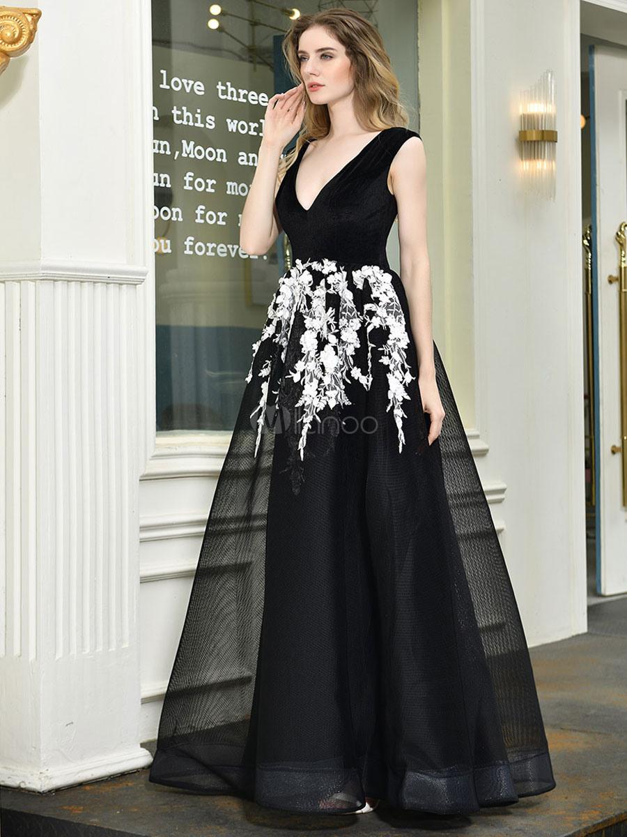 Ballkleider Schwarz Ball Kleider Mit Pailletten Bestickt Hochzeit A-Linie-  Mini-Kleid V-Ausschnitt Ärmellos Formelle Kleider Und Reißverschluss