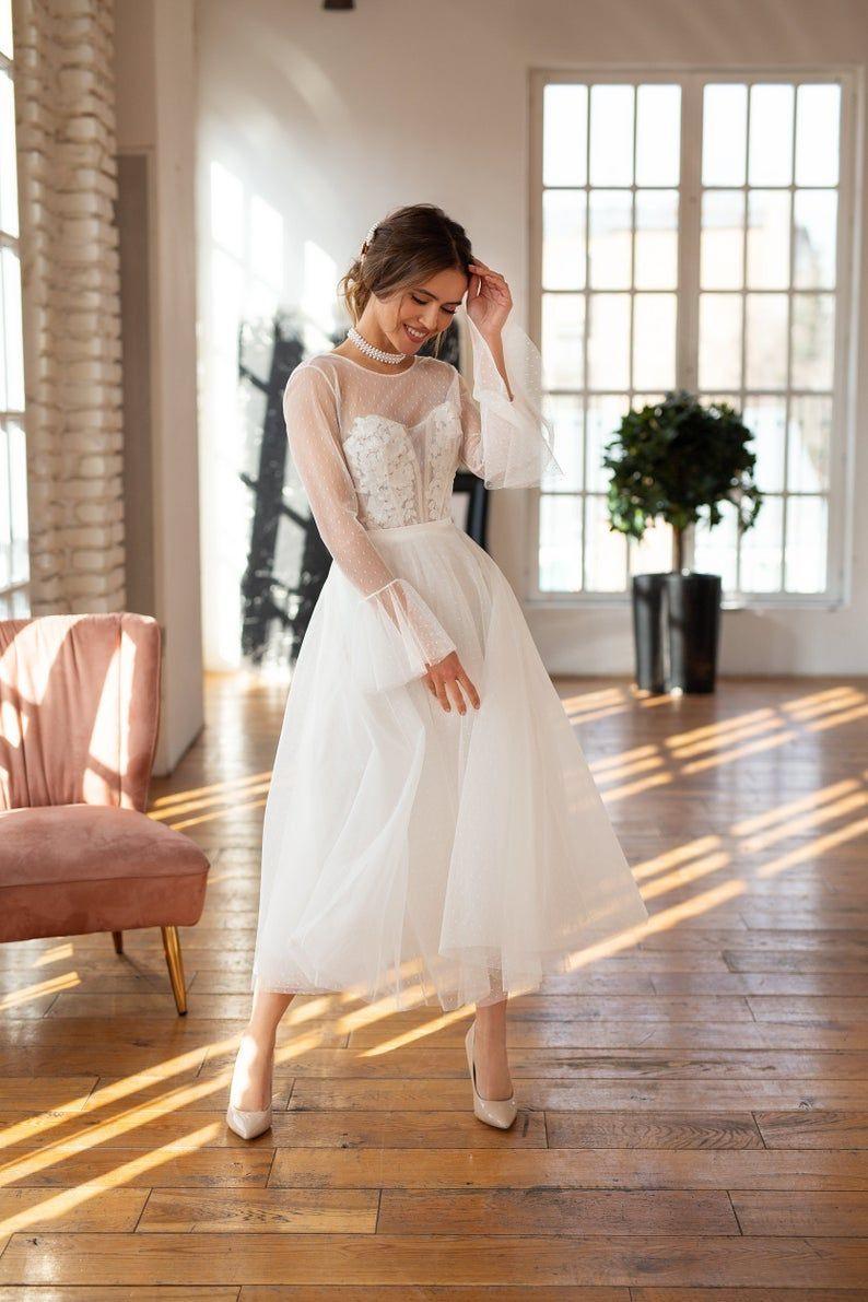 Bescheidene Hochzeitskleid, 50Er Jahre Brautkleid, Tee Länge