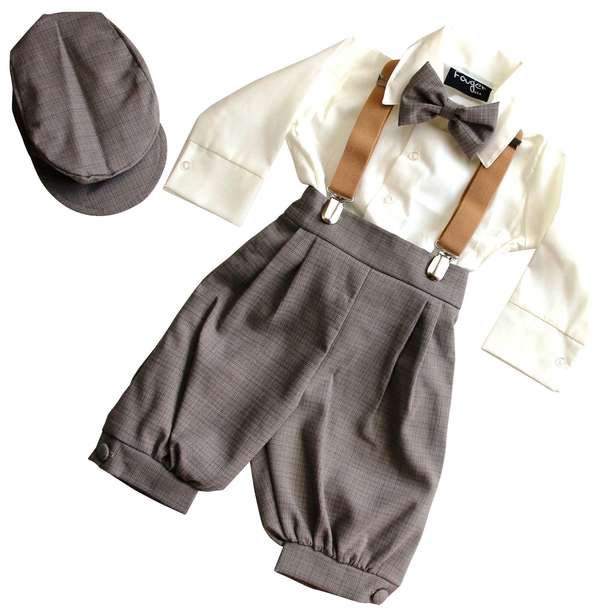 Bimaro Jungen Anzug Lino Beige Creme Braun Kinderanzug