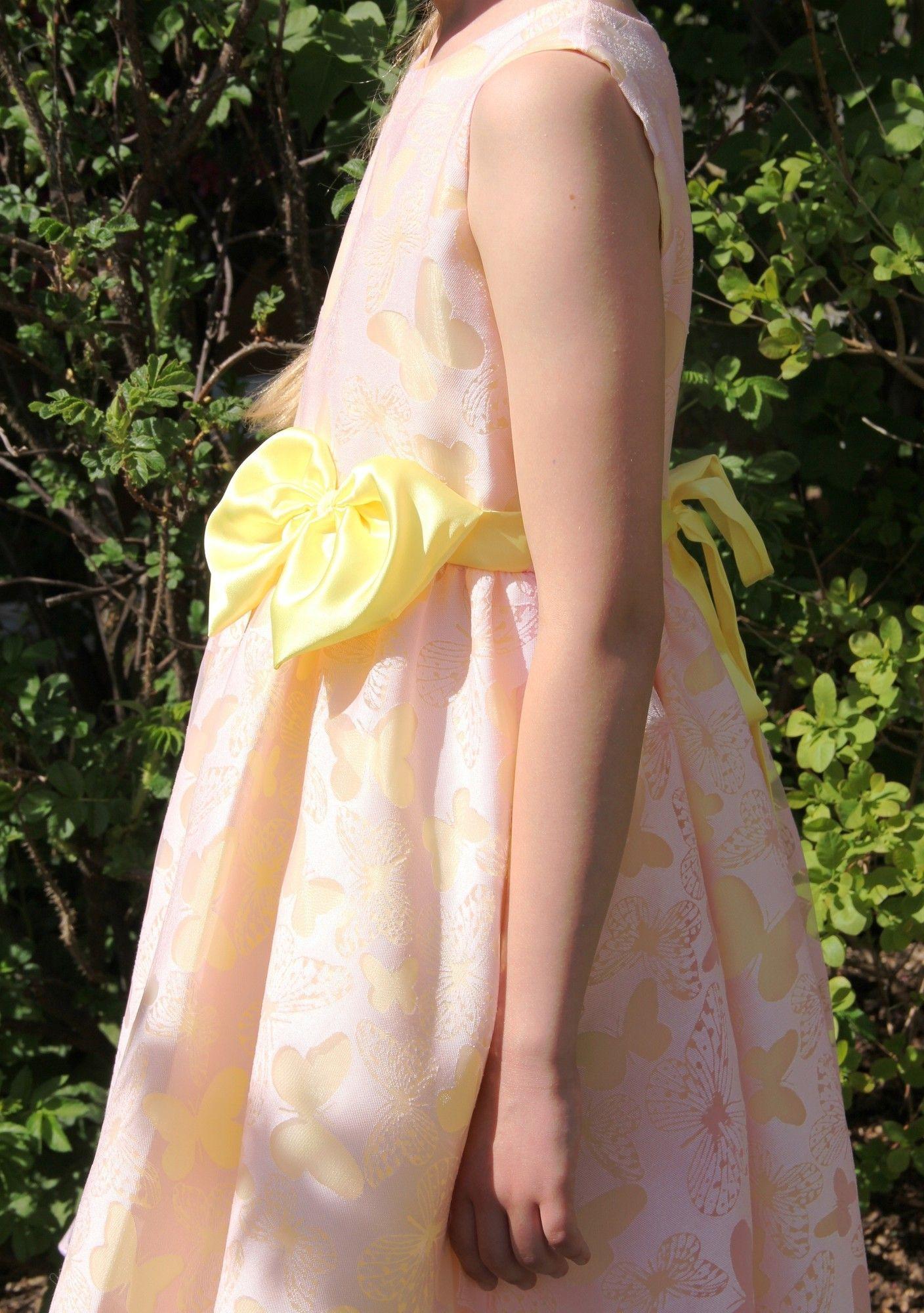 Bimaro Mädchen Kleid Romy Rosa Gelb Festlich Schmetter