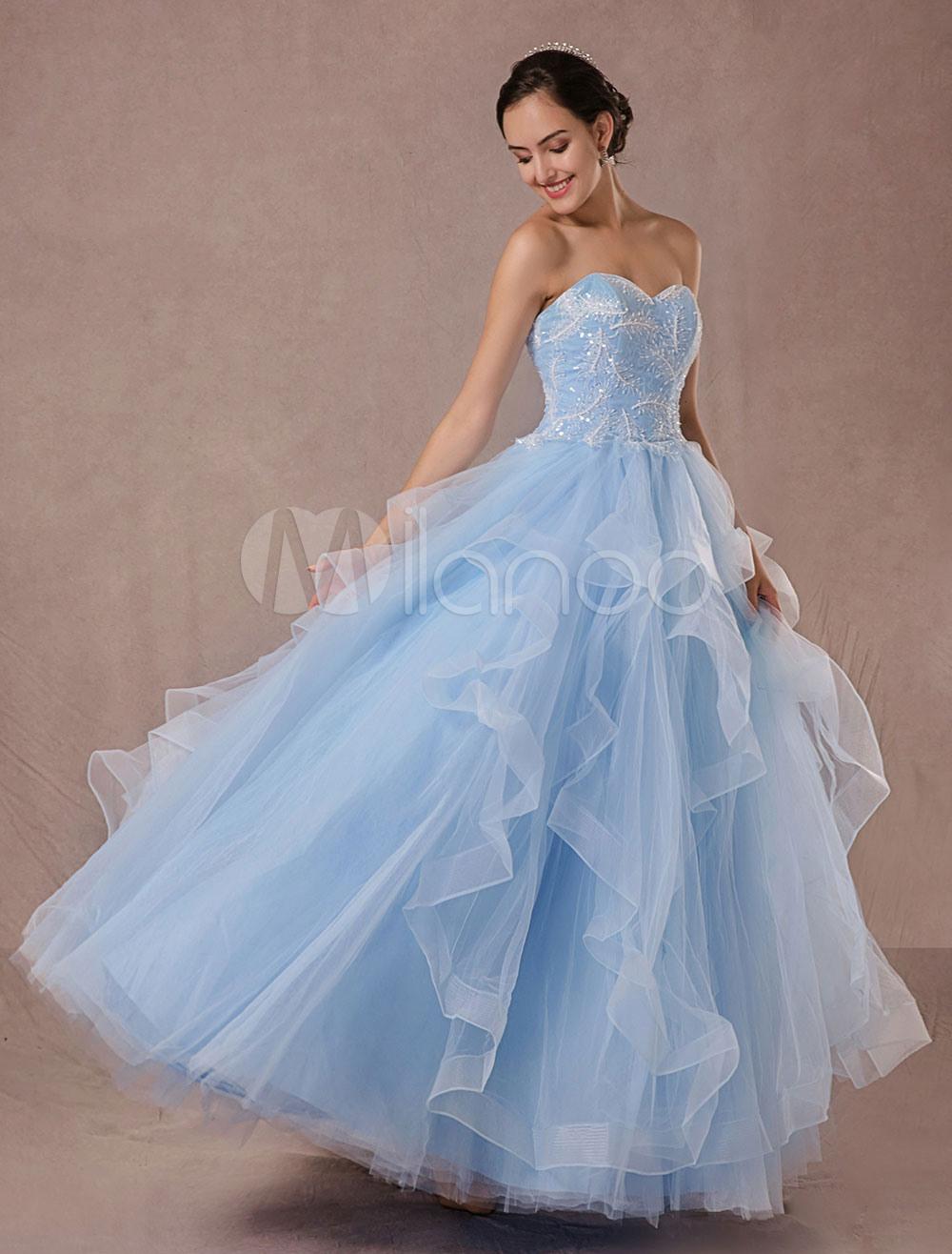 Blaue Hochzeitskleid Tüll Ball Kleid Spitze Applique Trägerloser Ausschnitt  Sicke Prinzessin Brautkleid Rückenfrei Bodenlangen Festzug Kleid
