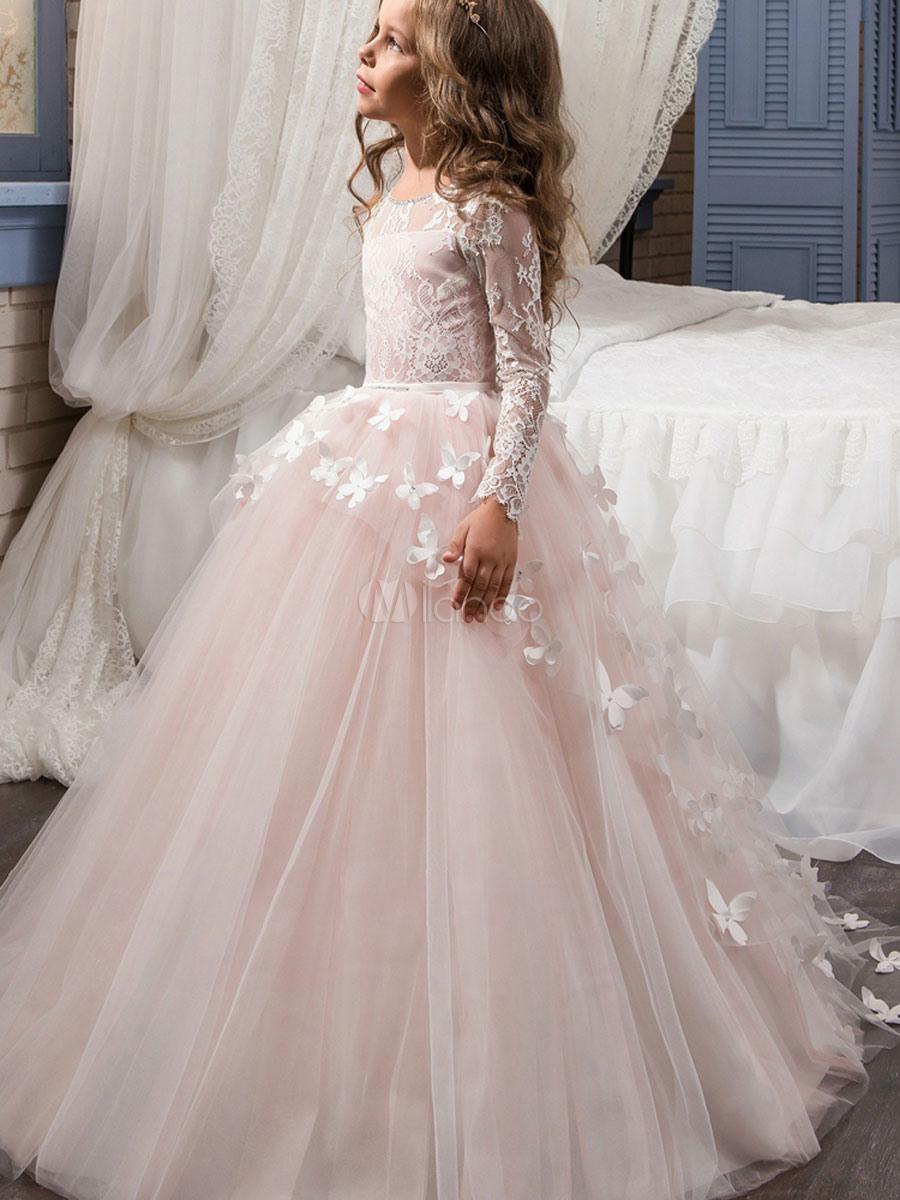 Blumenmädchen Kleider Prinzessin Rosa Abendkleider Für Hochzeit Bodenlang  Mit Rundkragen Hochzeit Tüll Langarm Kleid Blumenmädchen Und Schnürung