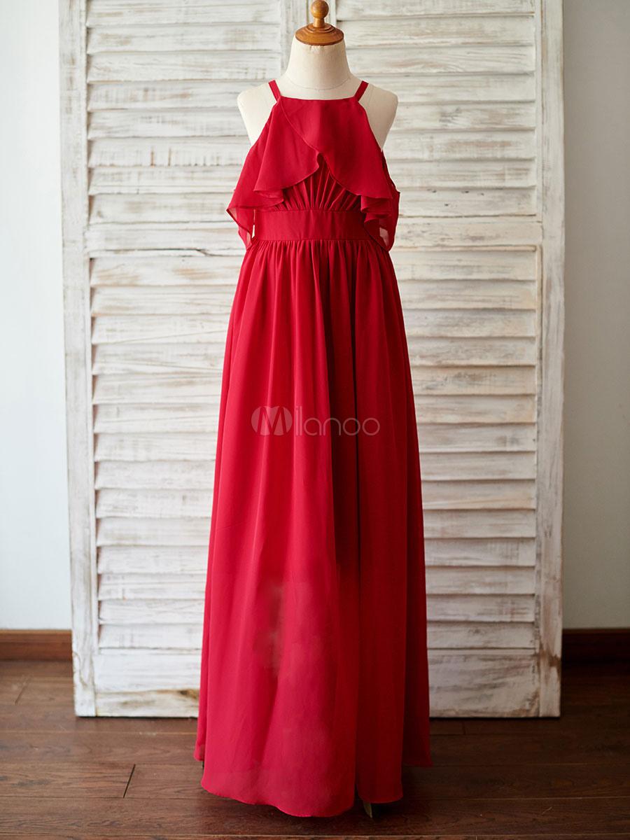 Blumenmädchen Kleider Prinzessin Rot Abendkleider Für Hochzeit Bodenlang  Viereckiger Ausschnitt Chiffon Ärmellos Kleid Blumenmädchen