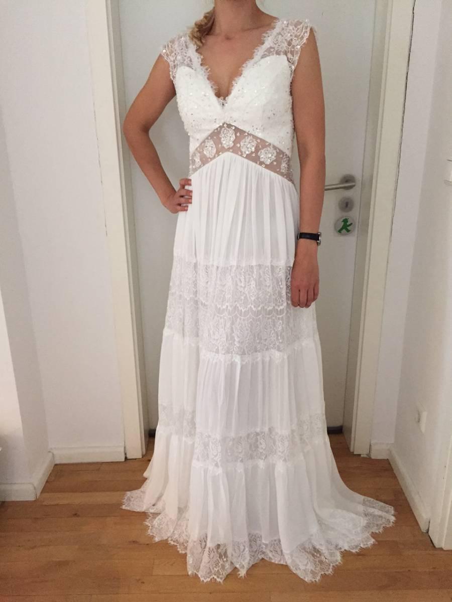 Bohemian Kleid Weiß Lang