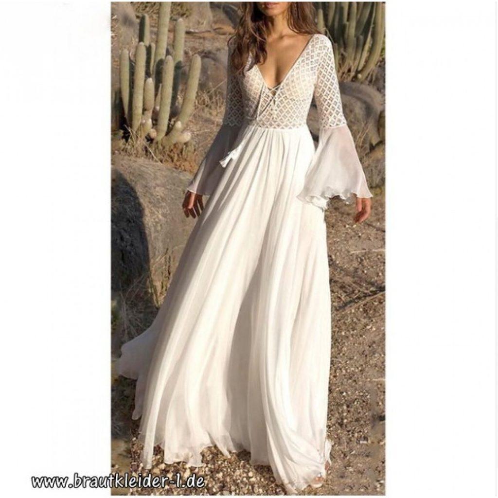 Boho Fashion Kleid Fuer Den Standesamt In Weiß - Abendkleid