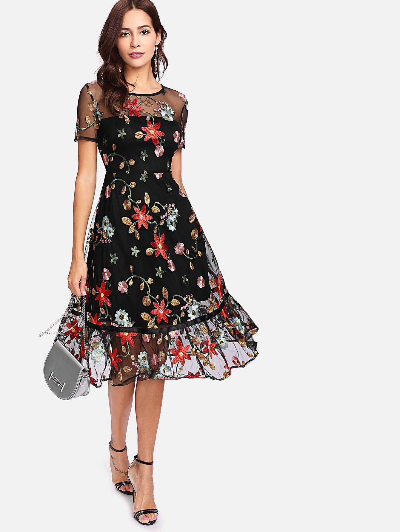 Botanical Embroidery Mesh Overlay Ruffle Hem Dress -Shein
