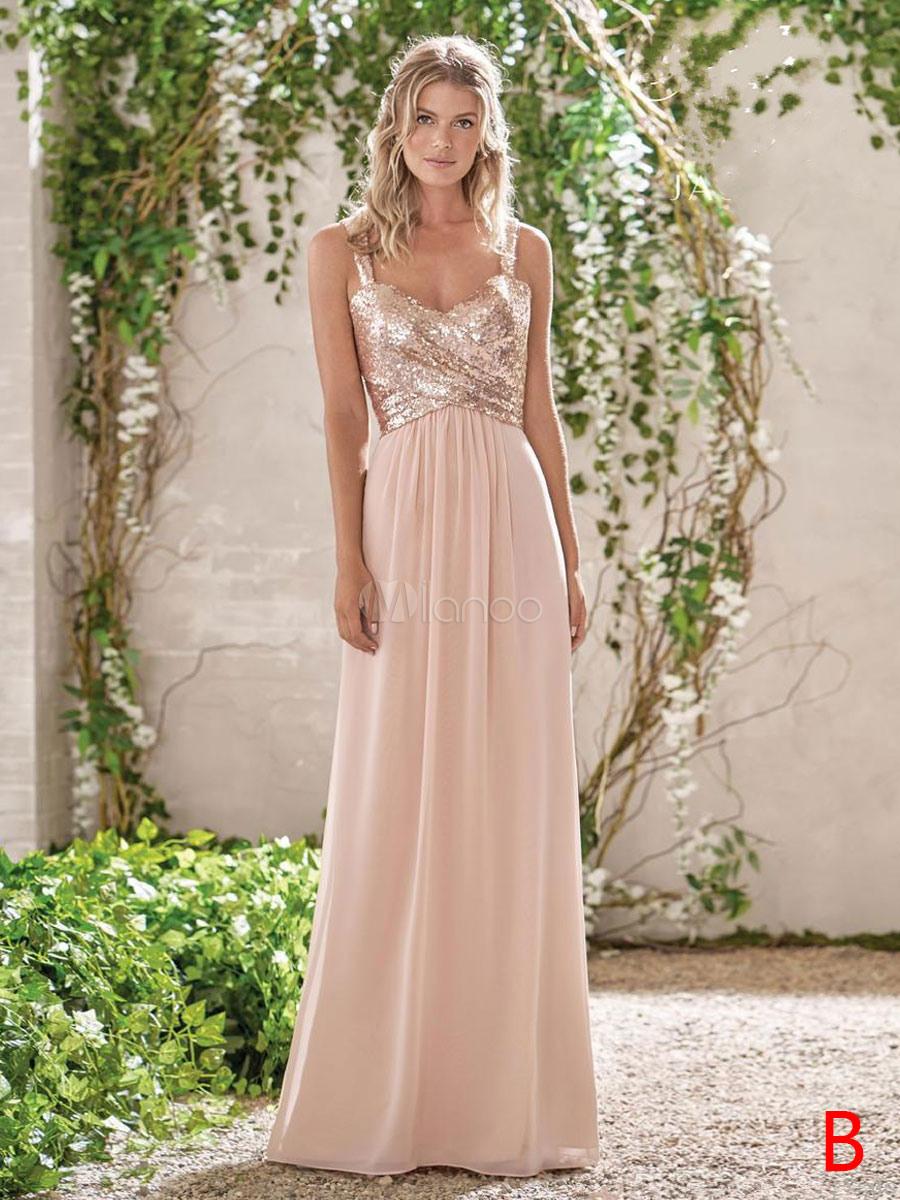 Brautjungfernkleid Neckholder Eine Linie Fußboden-Längen-Reißverschluss  Pailletten Chiffon Hochzeit Kleid
