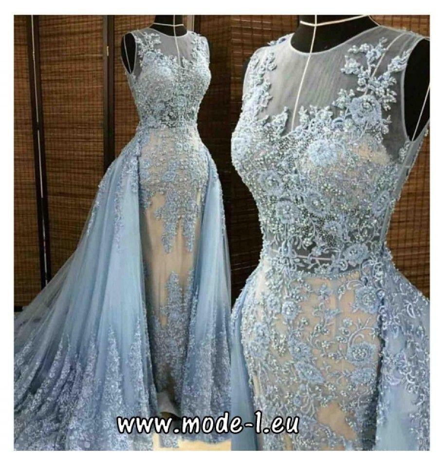 Brautkleid In Hellblau Mit Blumenstick | Abendkleid