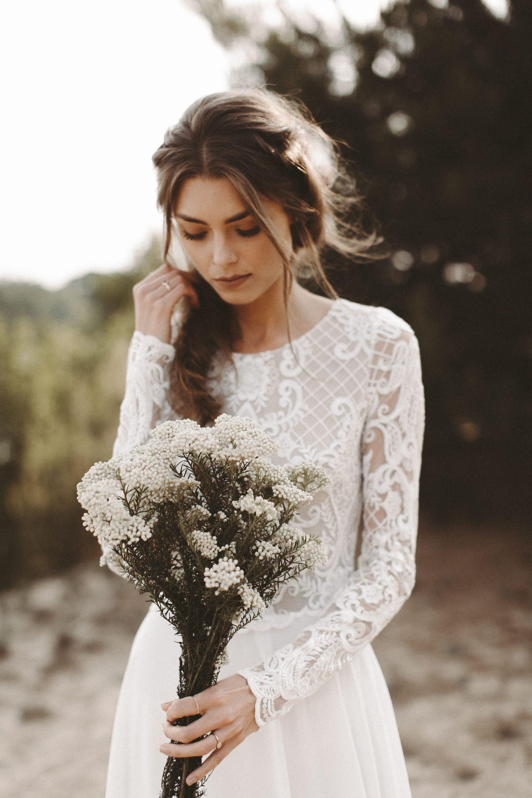Brautkleid Lange Spitzenärmel Rückenausschnitt Boho - Abendkleid