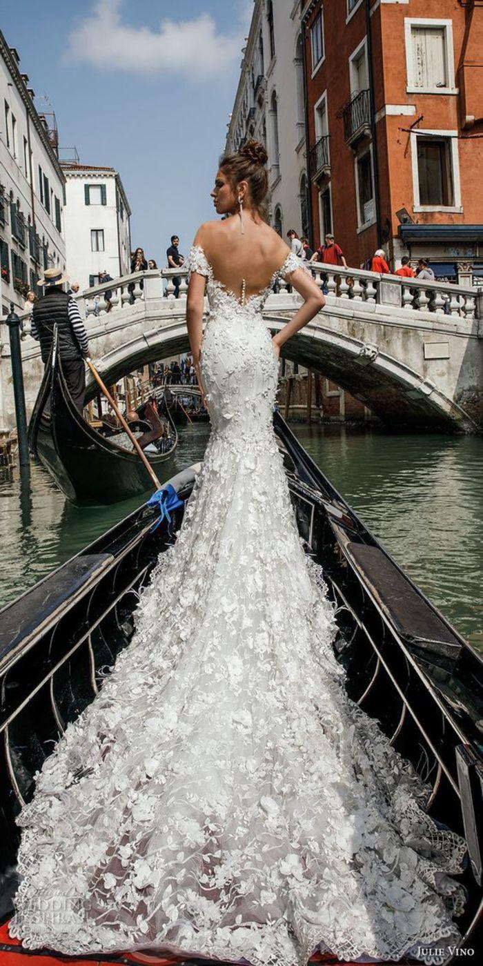 Brautkleid Meerjungfrau Aus Spitze, Rückenfrei, Schulterfrei