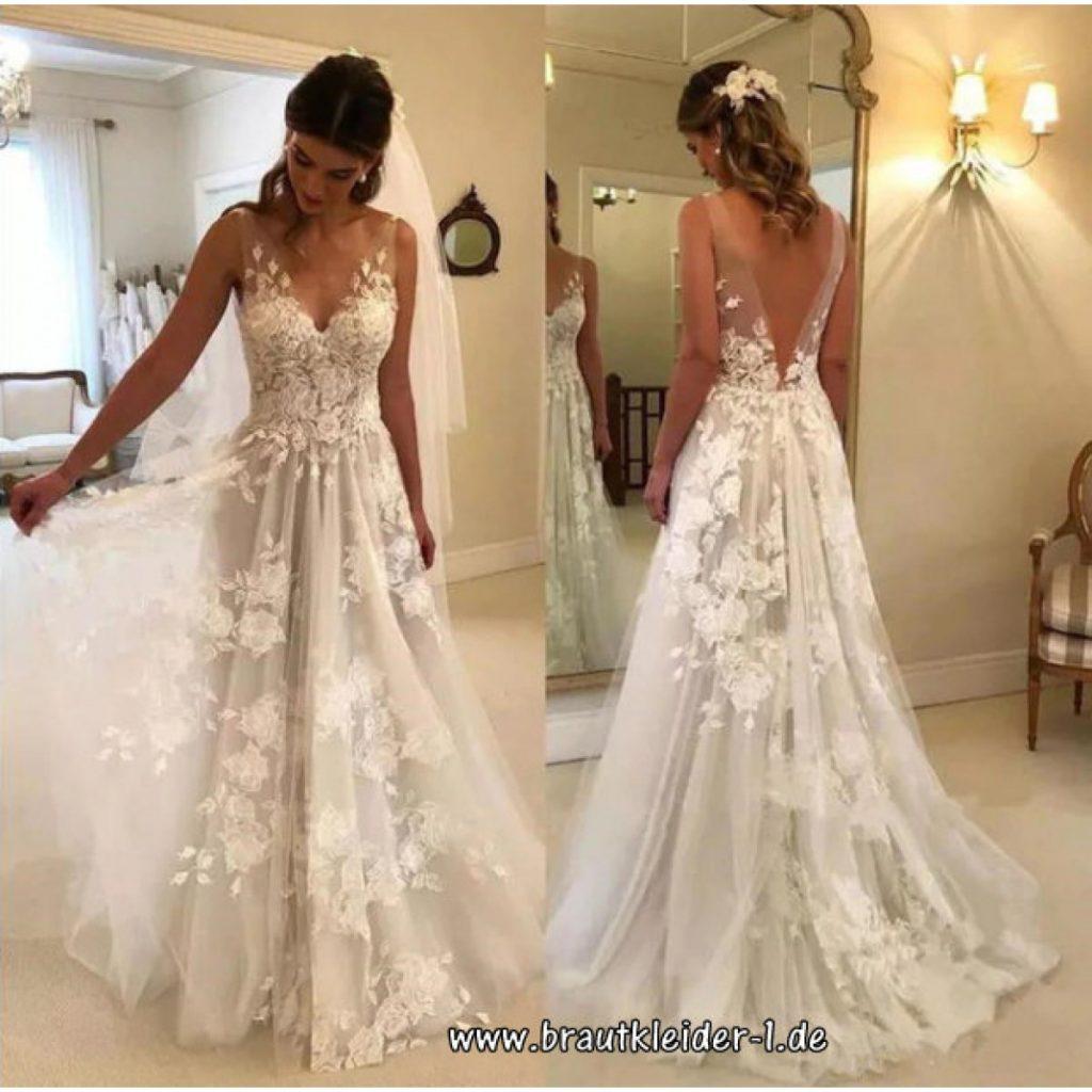 Brautkleid Mit V-Ausschnitt Tuell Und Spitze - Abendkleid