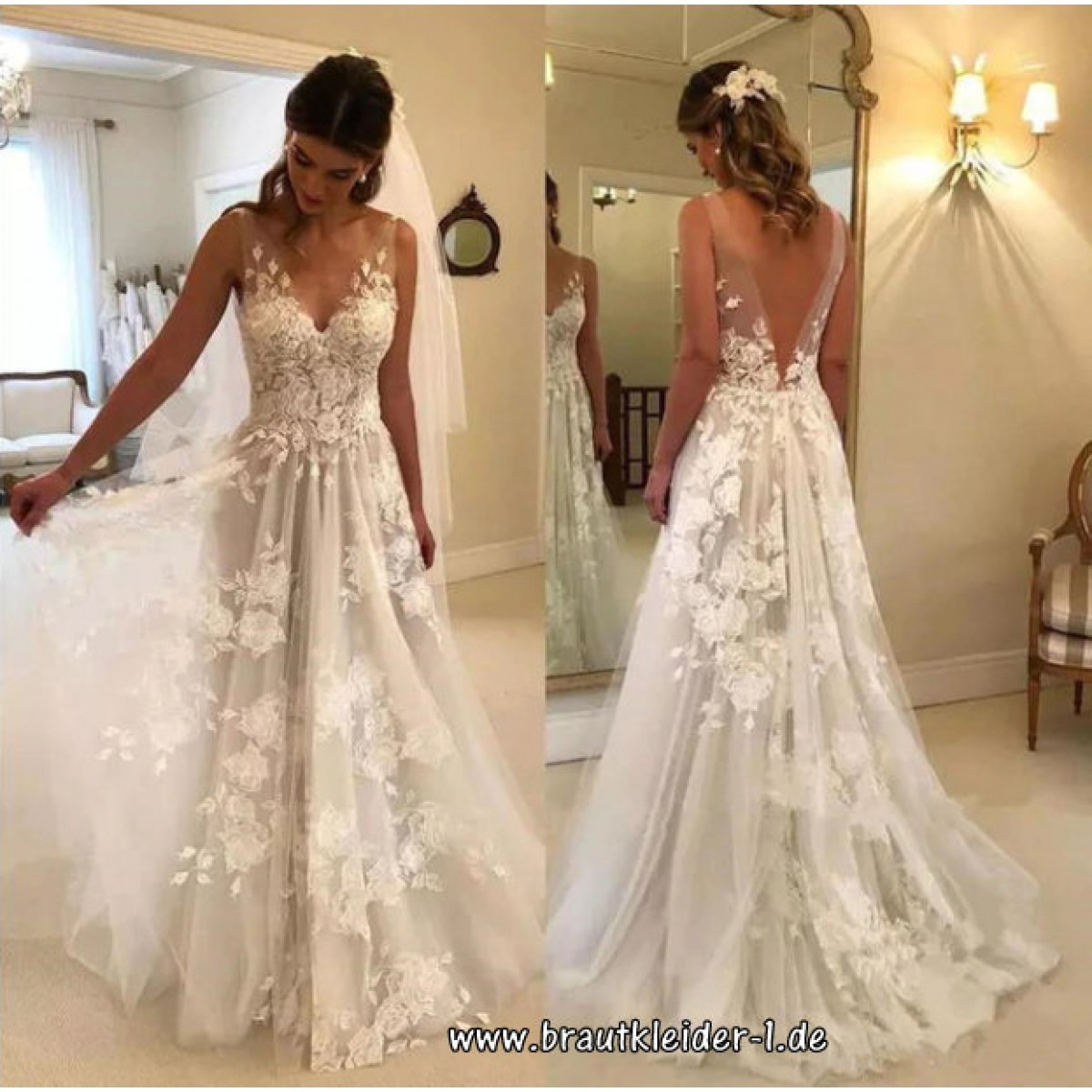 Brautkleid Mit V-Ausschnitt Tuell Und Spitze