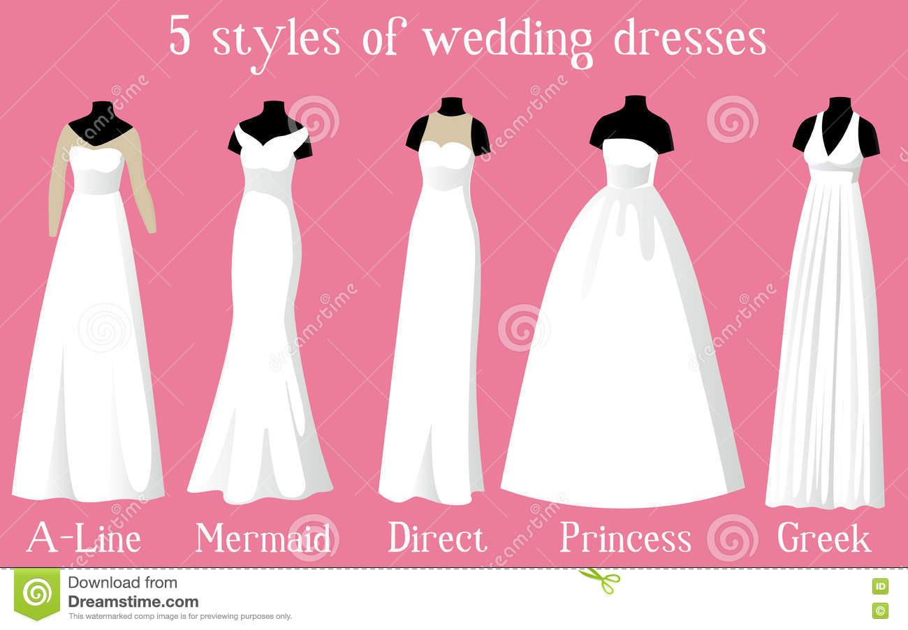 Brautkleider Von Verschiedenen Arten Auf Mannequins Vektor
