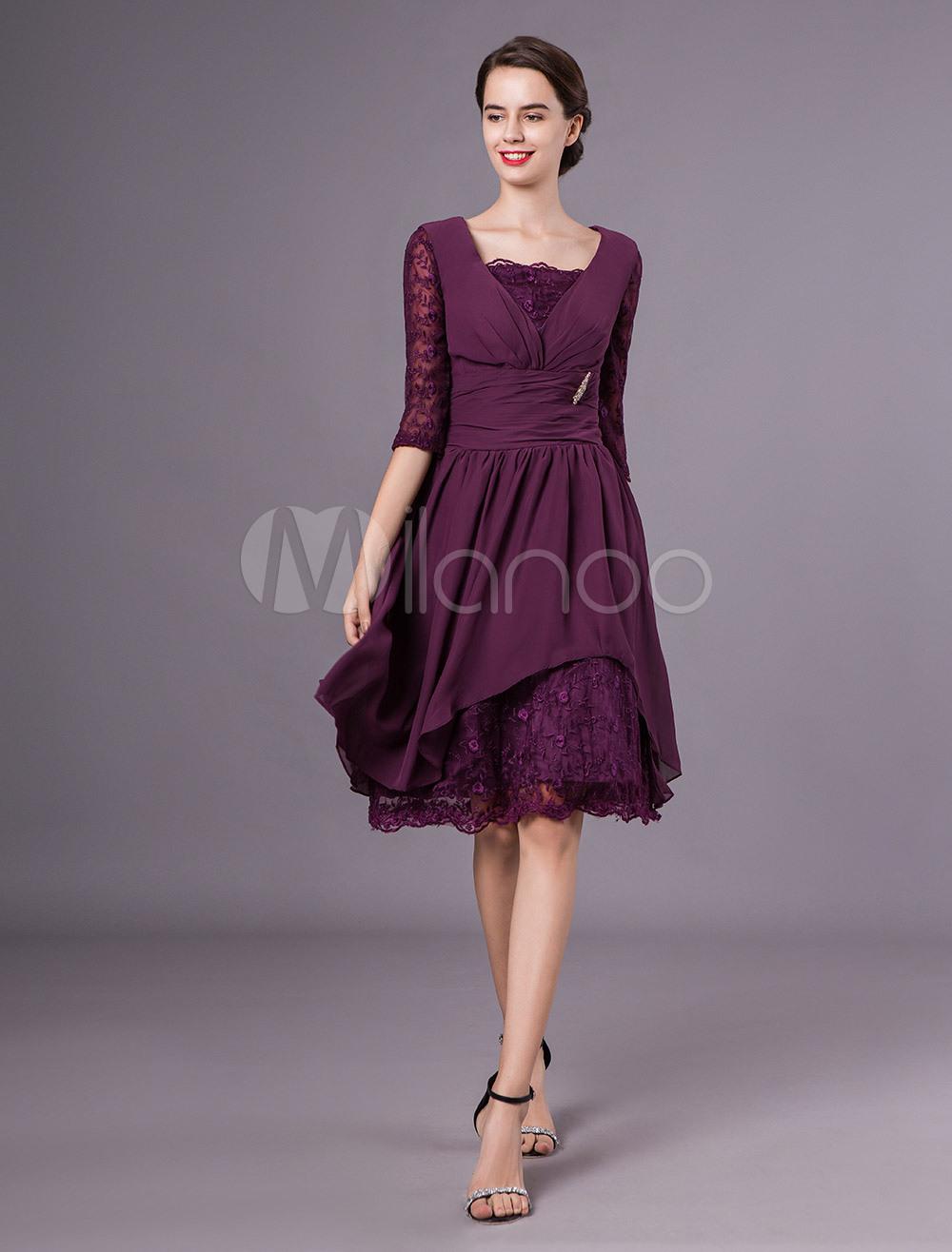 Brautmutterkleider A-Linie- Abendkleider Für Hochzeit Chiffon Günstige  Abendkleider Pflaume 1/2 Ärmel Viereckiger Ausschnitt Knielang