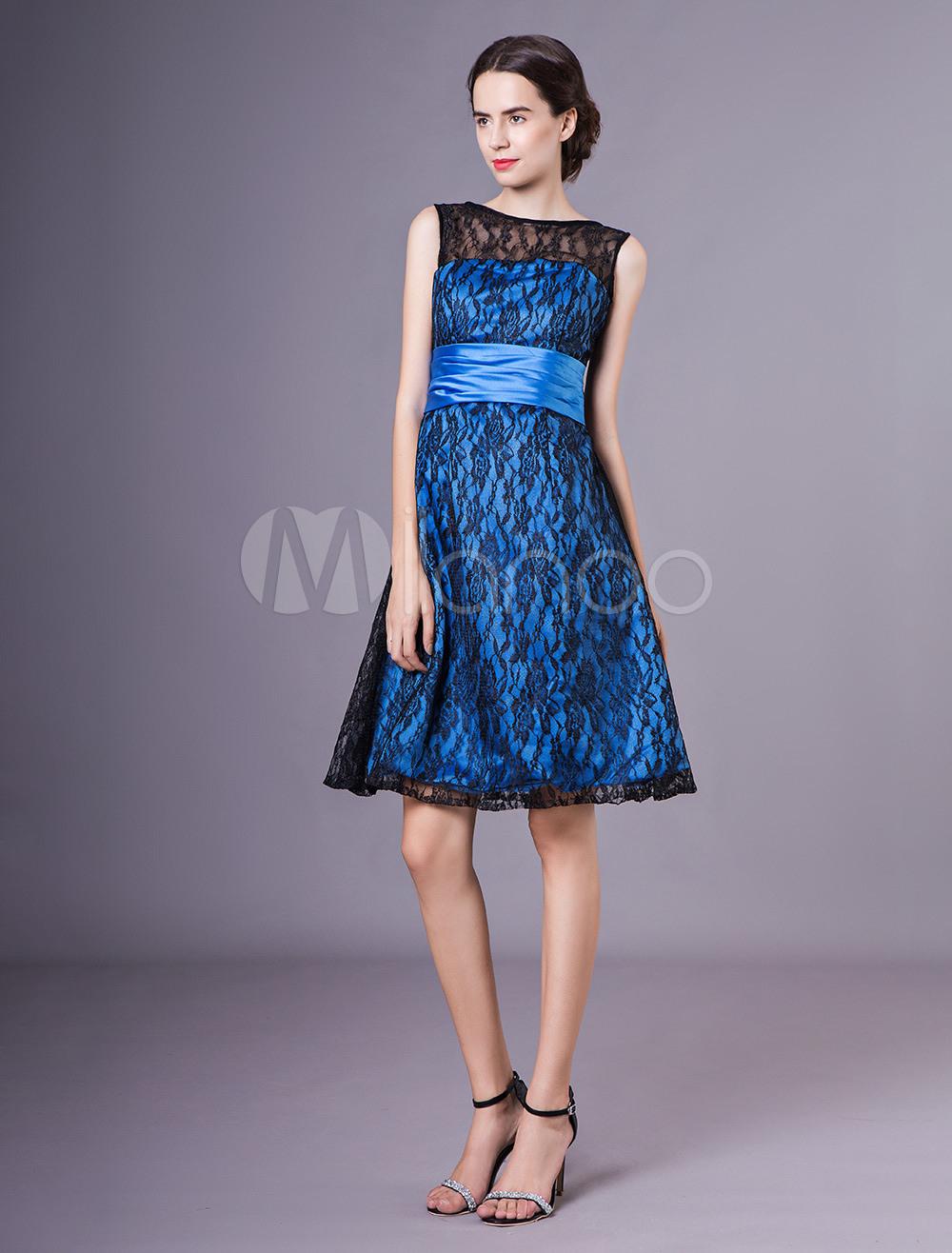 Brautmutterkleider A-Linie- Abendkleider Für Hochzeit Spitze  Cocktailkleider Blau Hochzeit Ärmellos Mit Bateau-Kragen Knielang Und  Reißverschluss