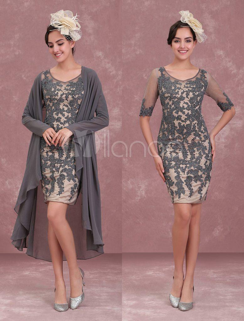 Brautmutterkleider Etui- Abendkleider Für Hochzeit Chiffon Kleider