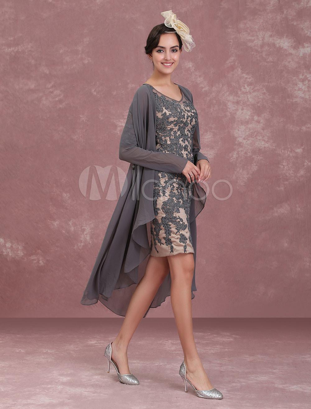 Brautmutterkleider Etui- Abendkleider Für Hochzeit Chiffon Kleider Für  Hochzeitsgäste Grau Langarm V-Ausschnitt Knielang Mit Reißverschluss