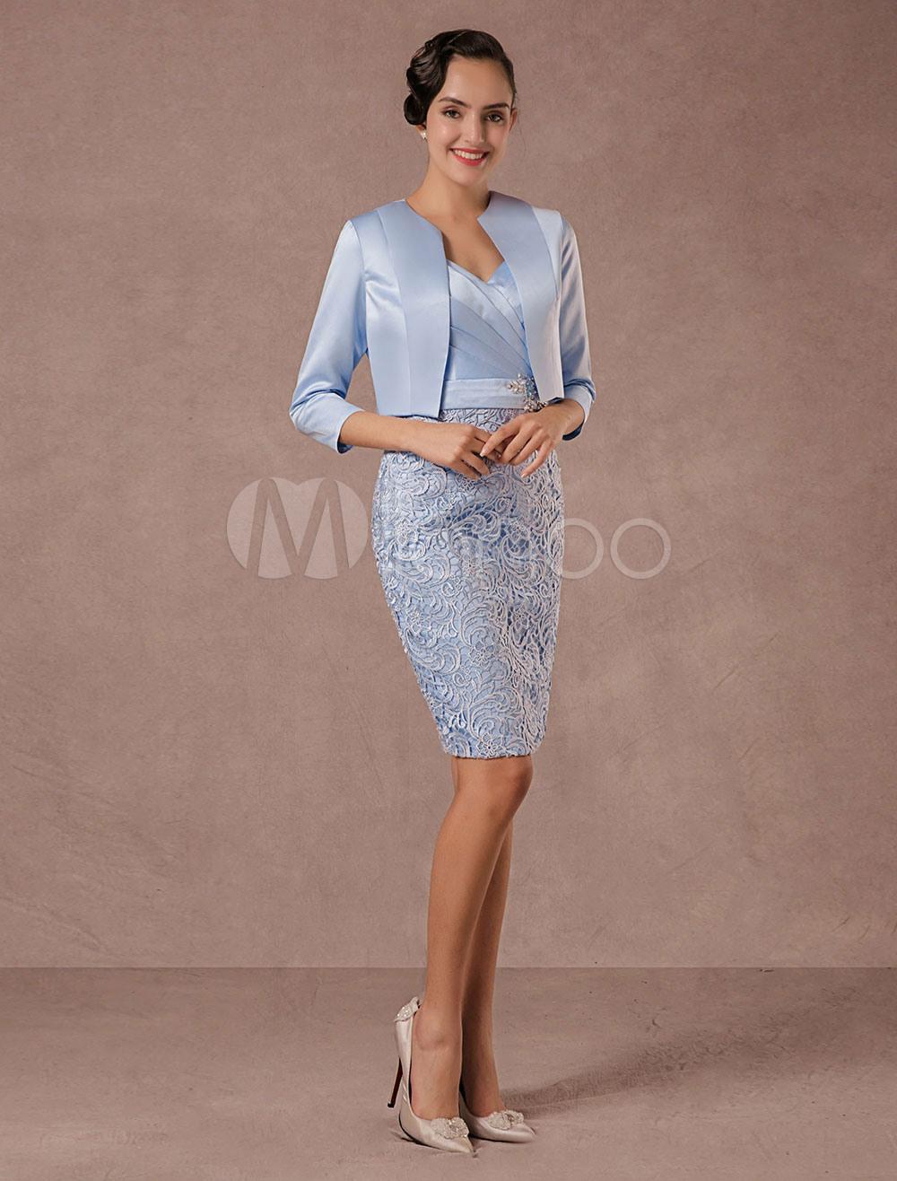Brautmutterkleider Etui- Abendkleider Für Hochzeit Pastellblau  Cocktailkleider Spitze Designender Ausschnitt Hochzeit Knielang 3/4 Ärmel