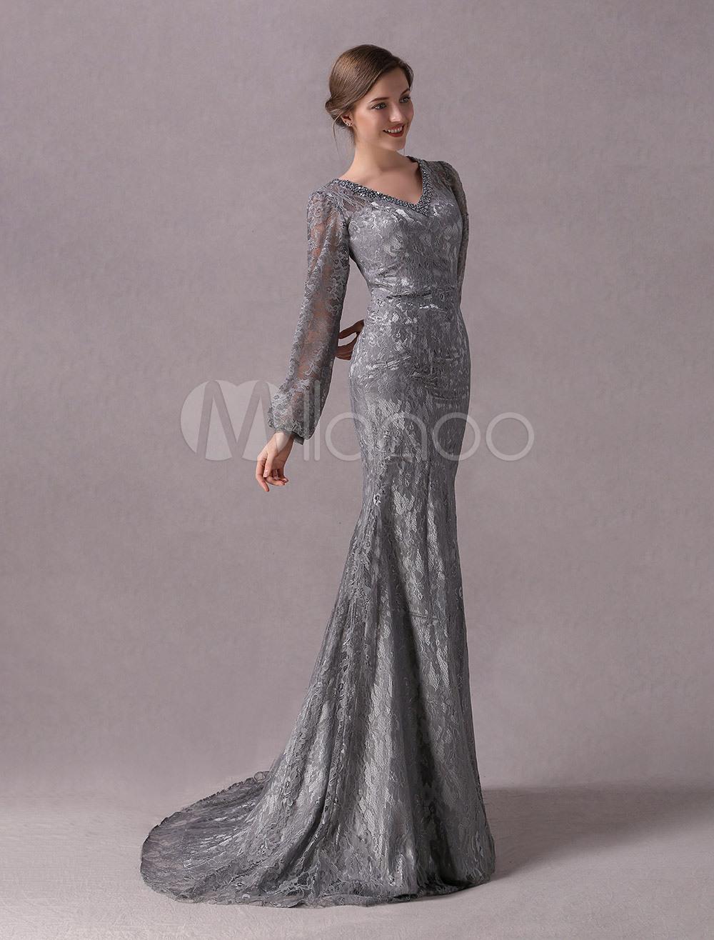 Brautmutterkleider Mermaid- Abendkleider Für Hochzeit Grau Abendkleider Mit  Spitze Spitze V-Ausschnitt Hochzeit Mit Court-Schleppe Langarm