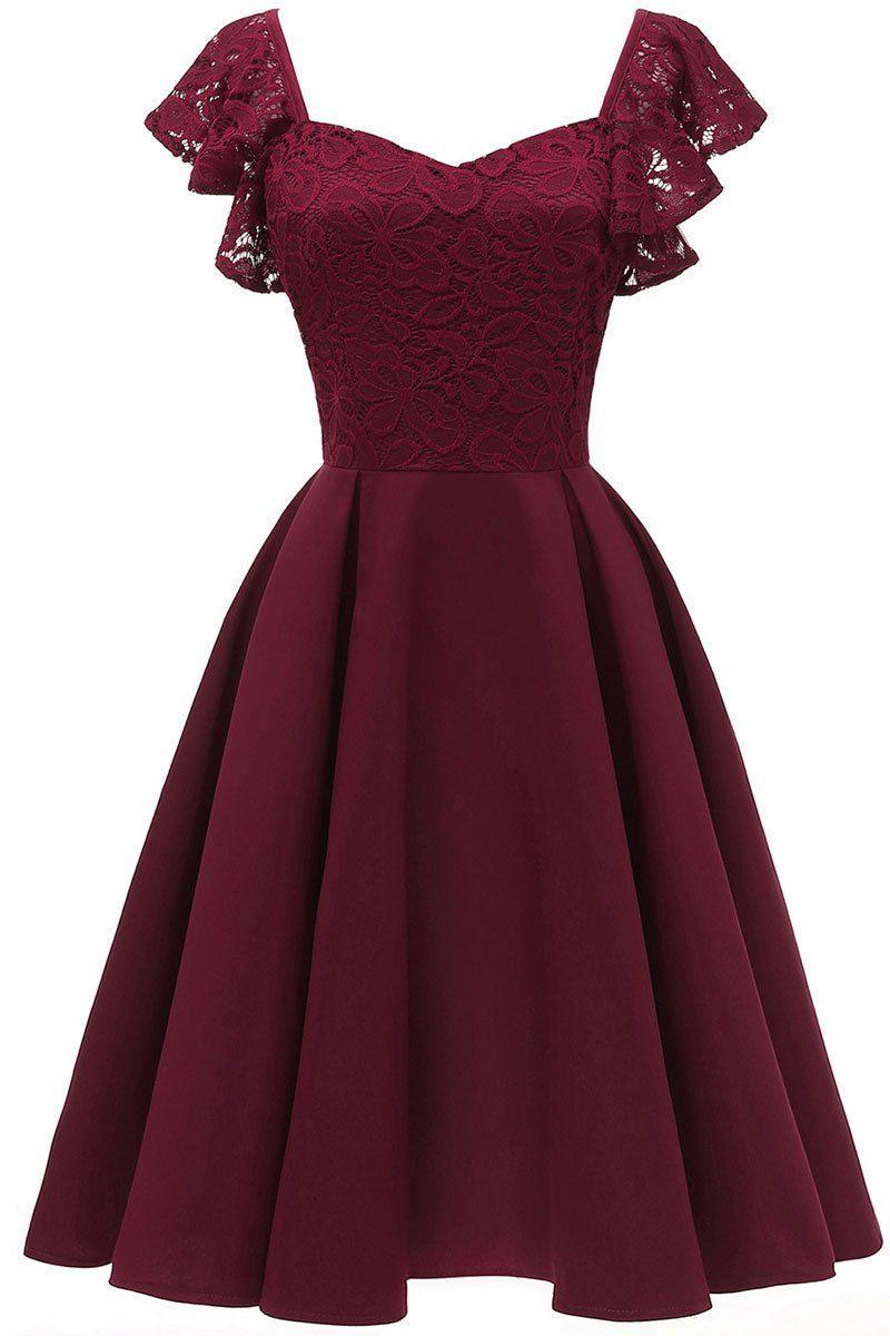 Burgund Cap Sleeves Satin Heimkehr Kleid In 2020 | Schöne