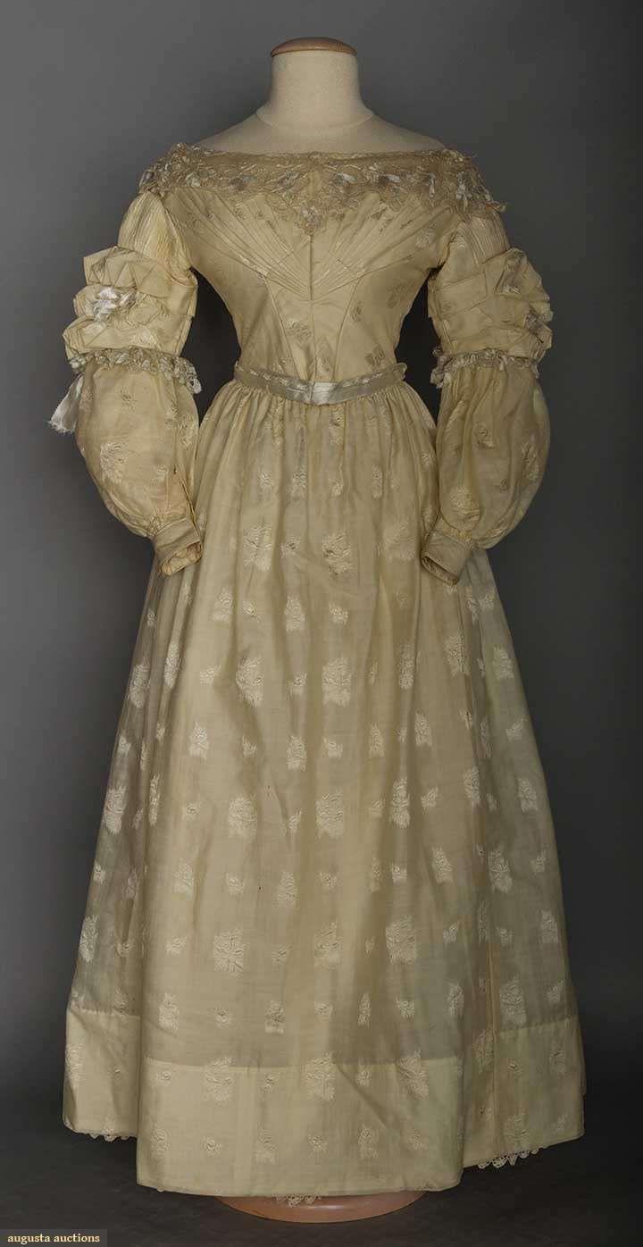 Ca. 1838, (Hochzeits-?)Kleid Aus Wollbrokat (?), Usa