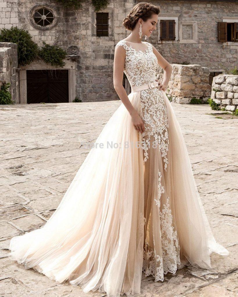 Champagner Spitze Abnehmbare Rock Hochzeitskleid Vintage - Abendkleid