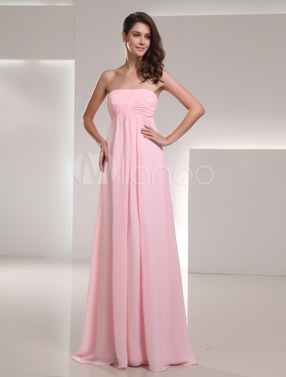 Chiffon Empire-Kleid Für Hochzeit Mit Trägerlosem Design Und Falten In  Rosa, Bodenlang