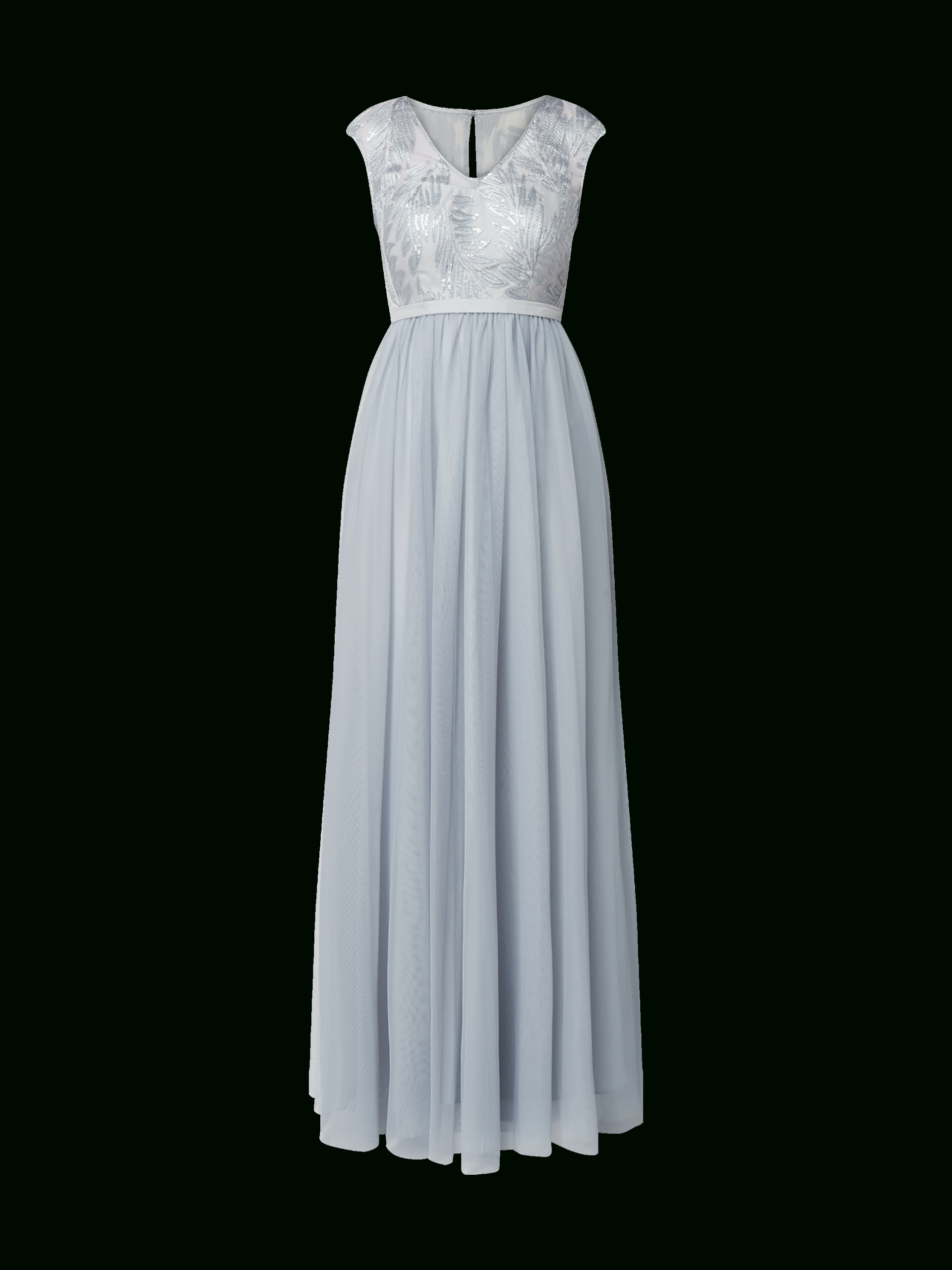 Christian Berg Cocktail – Abendkleid Mit Stickereien – Bleu