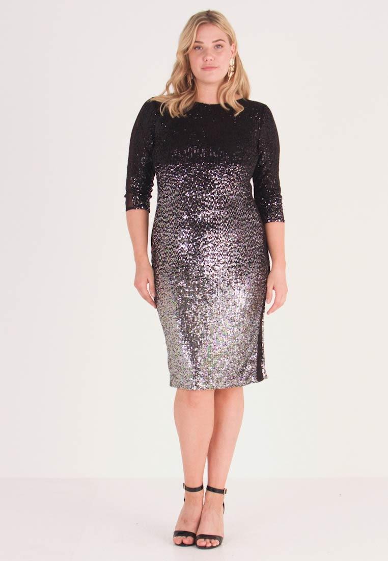 Cocktailkleid/festliches Kleid - Silber/schwarz