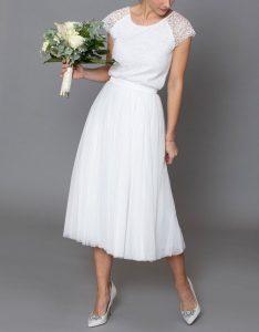 Constant Love Tüll Rock Braut Midi   Kleid Standesamt Braut