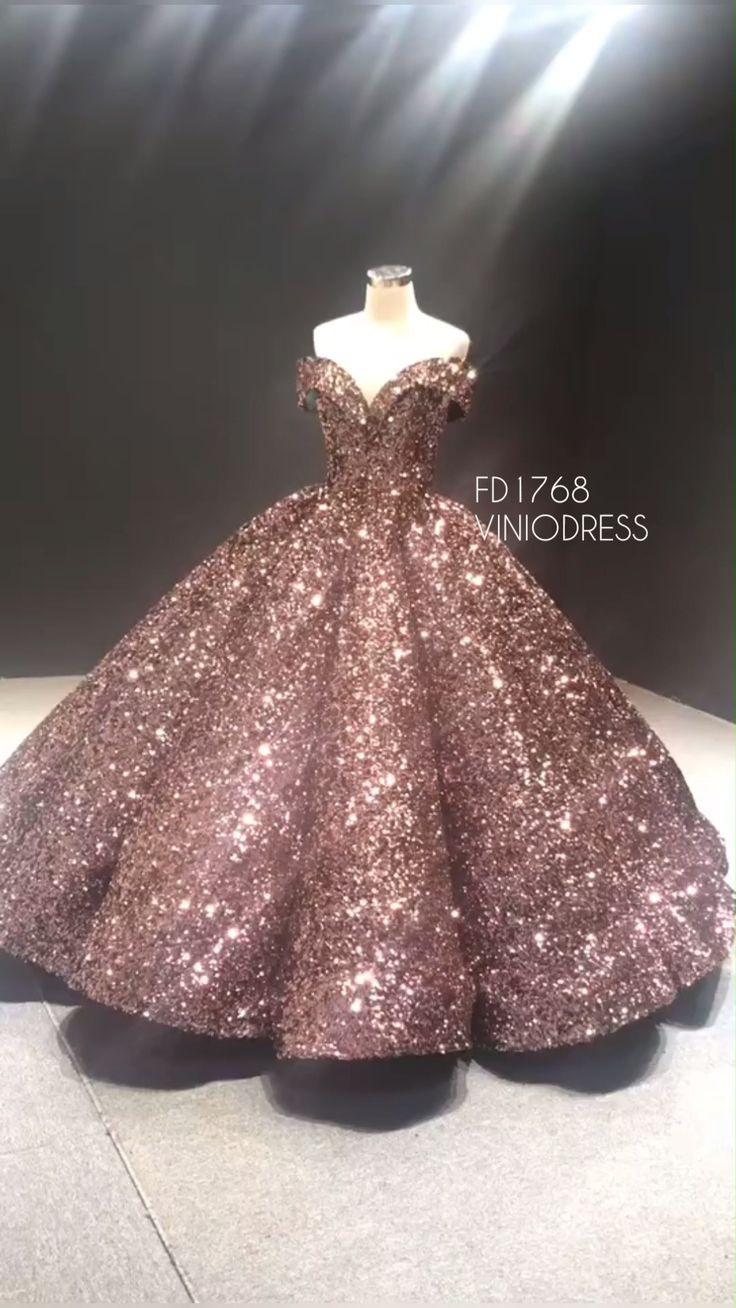 Couture Sparkly Sequin Ballkleid Von Der Schulter