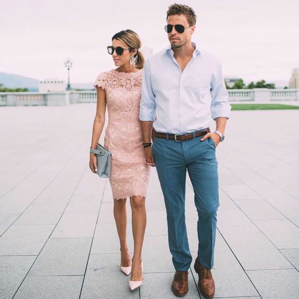 Cutely Dressed Couple | Outfit, Outfit Hochzeit Gast