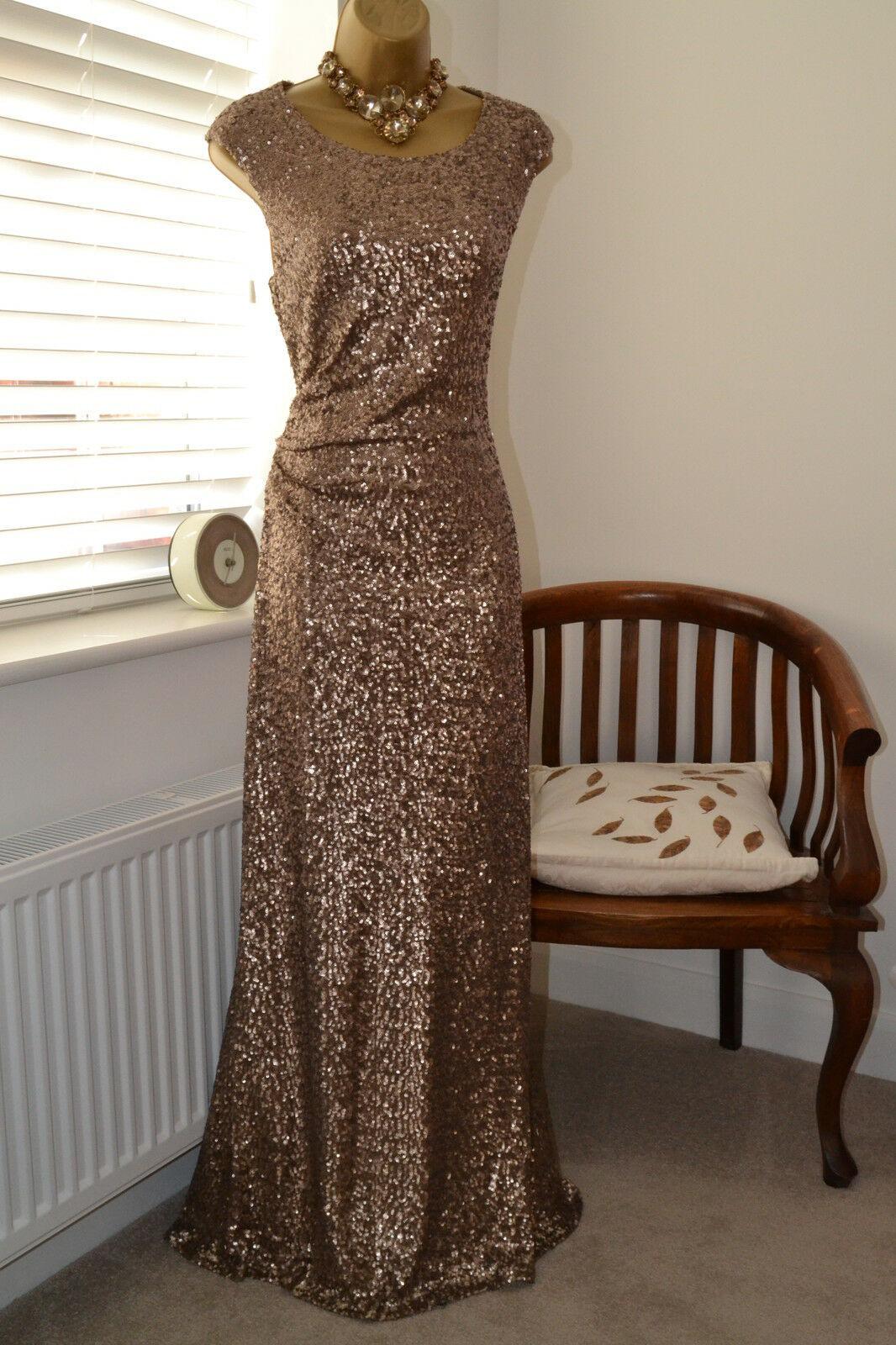 Женское Платье Reduziert Wunderschne Monsoon Lange Gold Pailletten