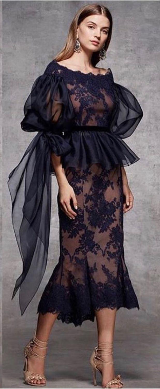 Платье Из Шёлка, Кружева И Органзы In 2020 | Schwarzes Kleid