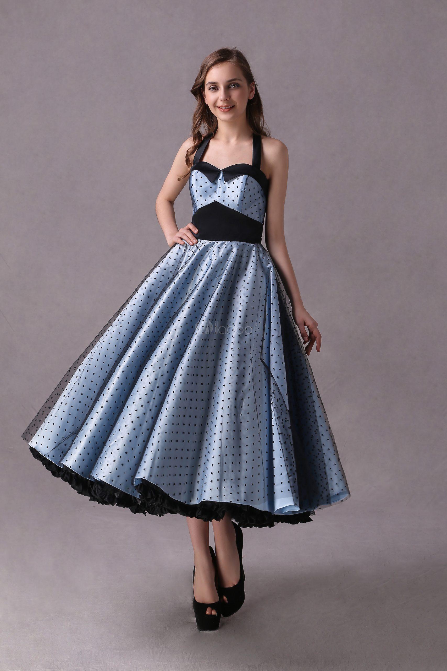 Платья Подружки Невесты Рокабилли Короткие Baby Blue Polka Dot Версия Для  Печати Halter Tea Length Vintage Wedding Party Dresses