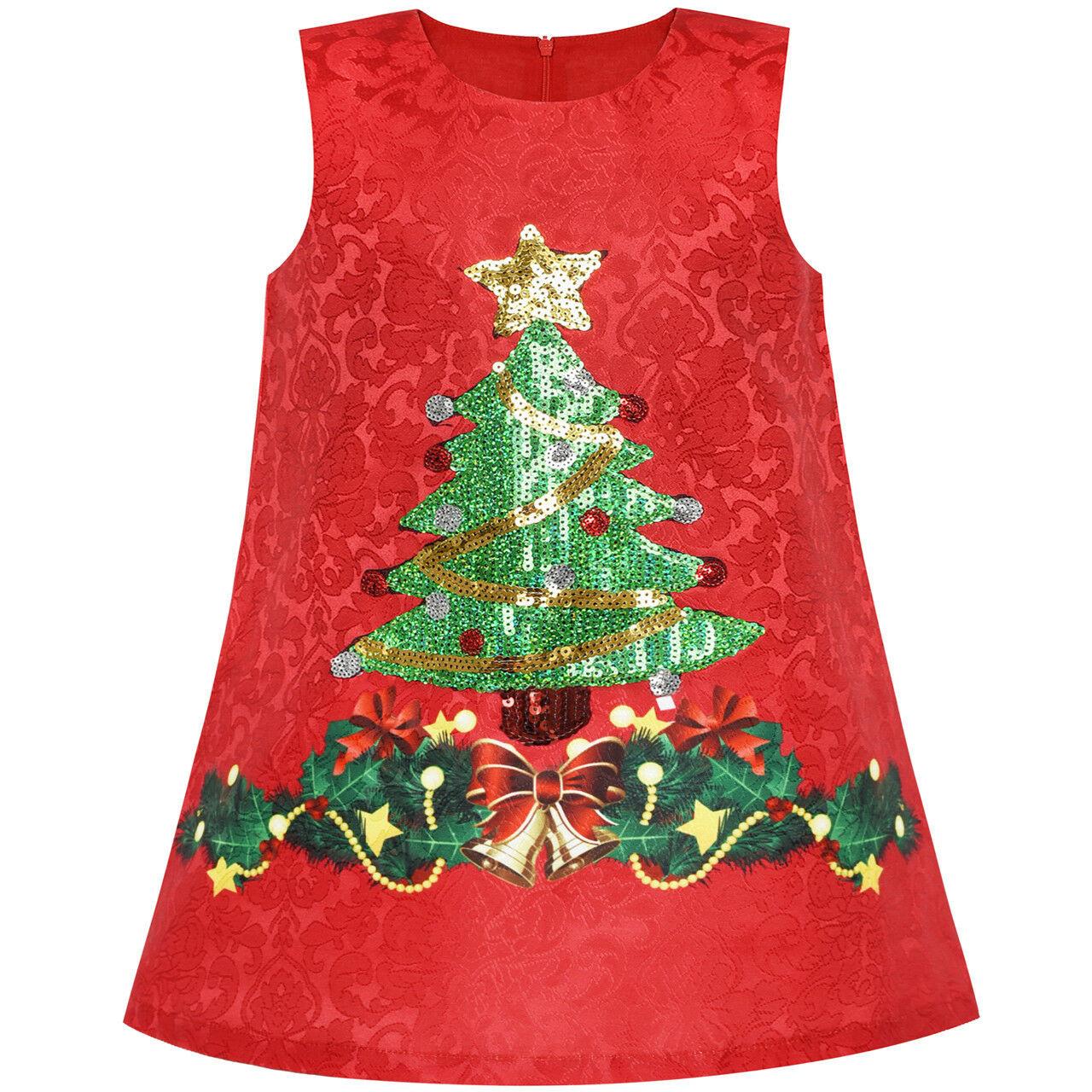 Подробные Сведения О Mädchen Kleid A-Linie Weihnachten Baum Weihnachten  Pailletten Funkelnd Urlaub