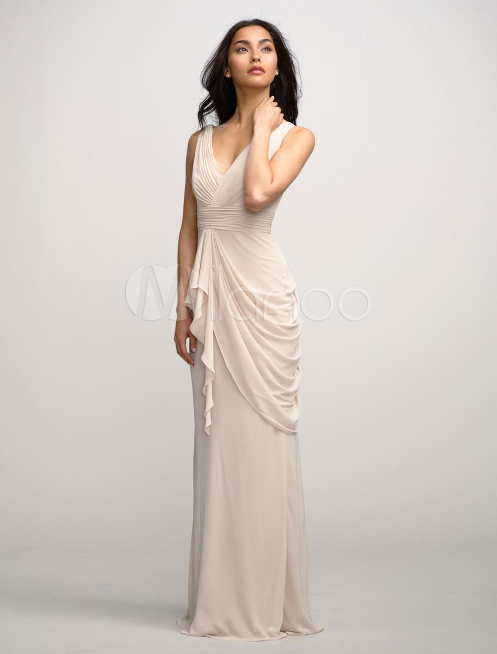 Старинный Вечернее Платье Сексуальное Платье Партии Chiffonwedding Платье  V-Neckd Макси Невесты Платье