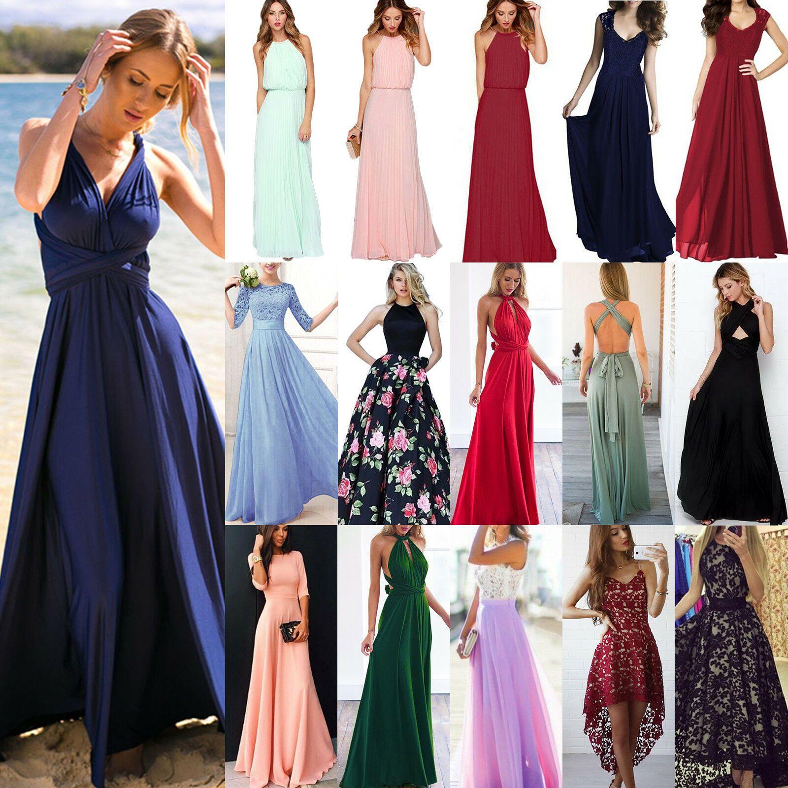 Damen Brautjungfern Hochzeit Lang Maxi Kleid Abendkleid