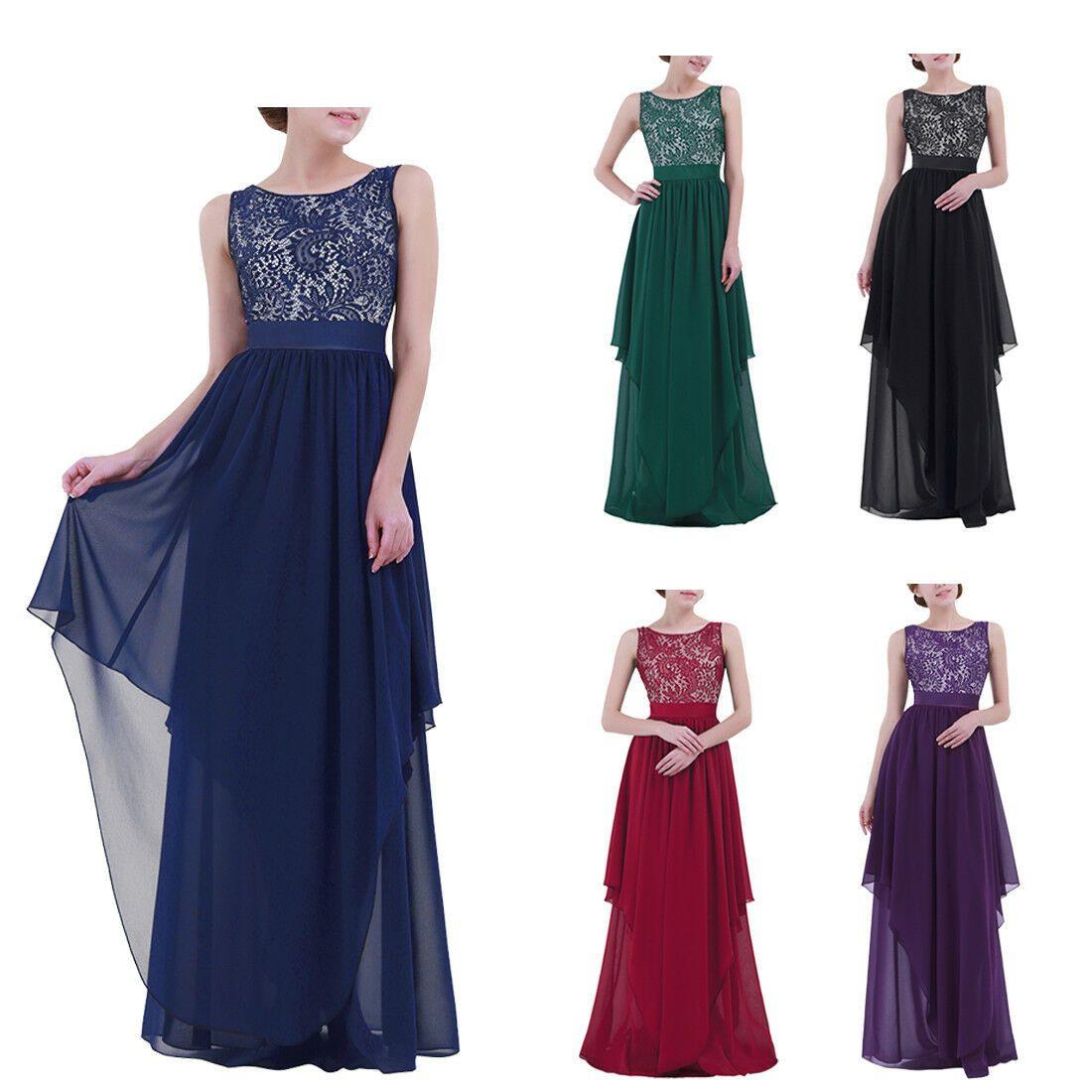 Damen Elegant Kleid Festlich Hochzeit Maxi Kleider