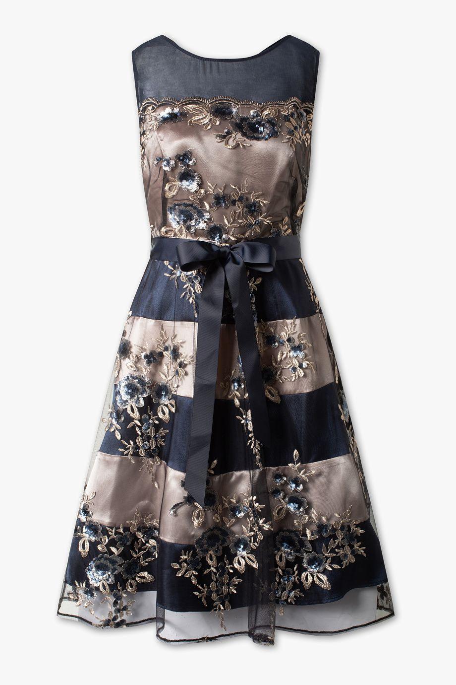 Damen - Fit & Flare Kleid - Festlich - Glanz Effekt - Blau
