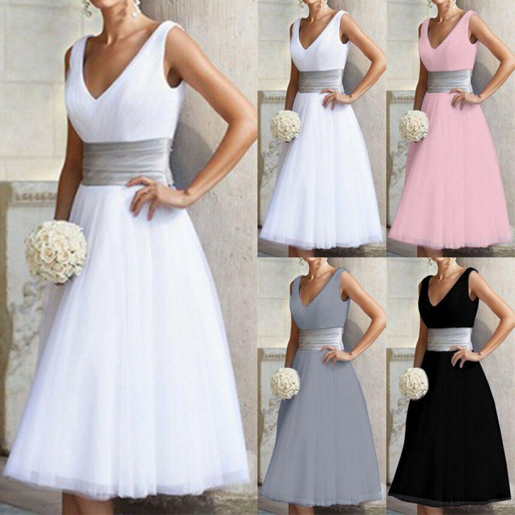 Damen Formal Abend Kleid Hochzeit Brautjungfer Brautkleid - Abendkleid