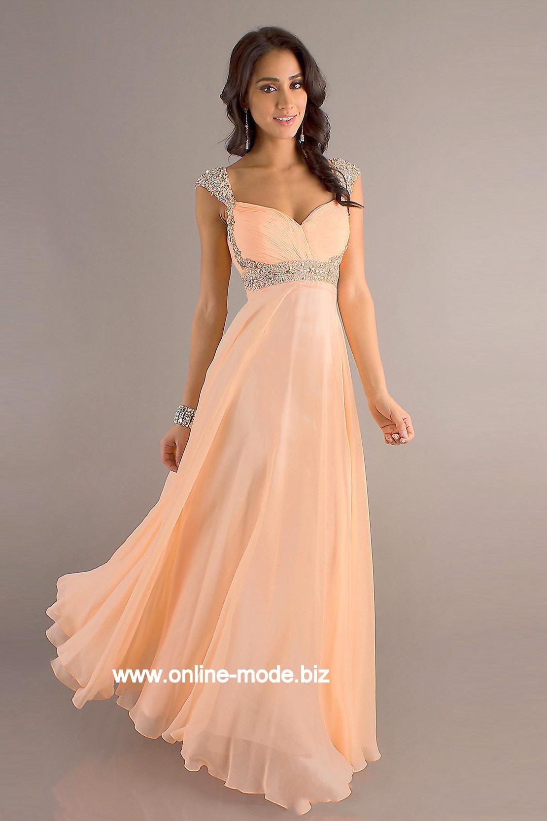 Damen Kleid Abendkleid In Aprikose