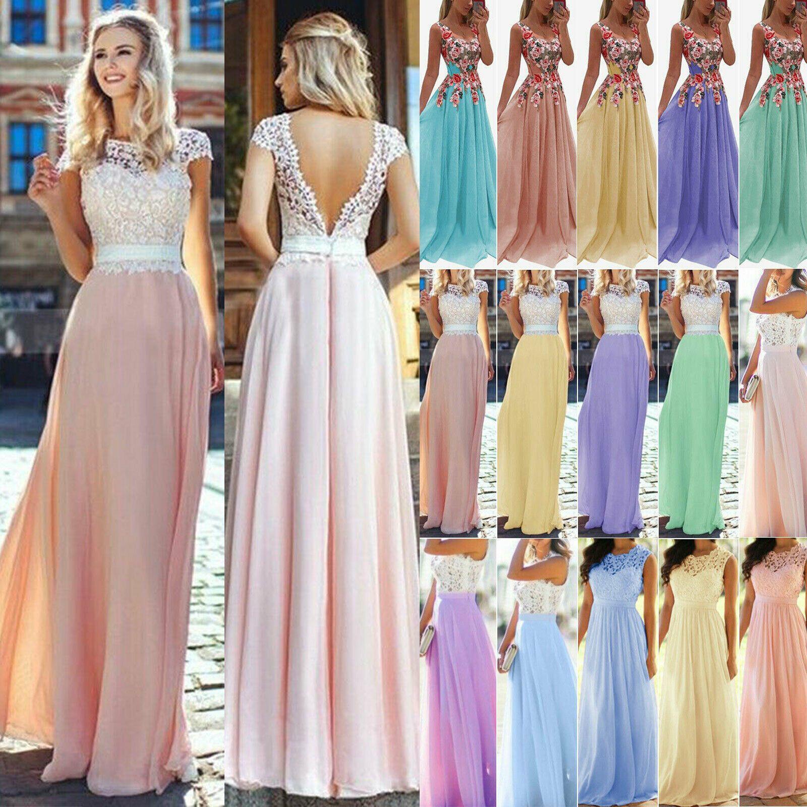 Damen Spitze Rückenfrei Abendkleid Brautjungfernkl In 2020