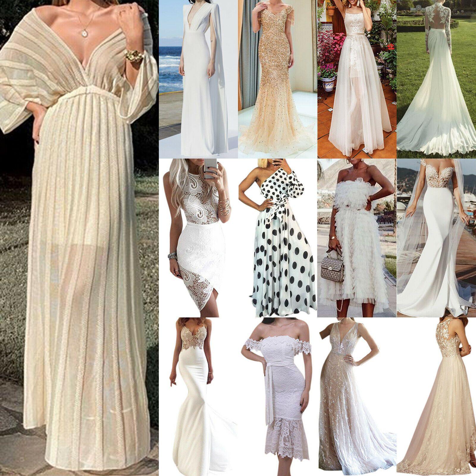 Damen Weiß Spitze Abendkleid Cocktailkleid Fest Partykleid