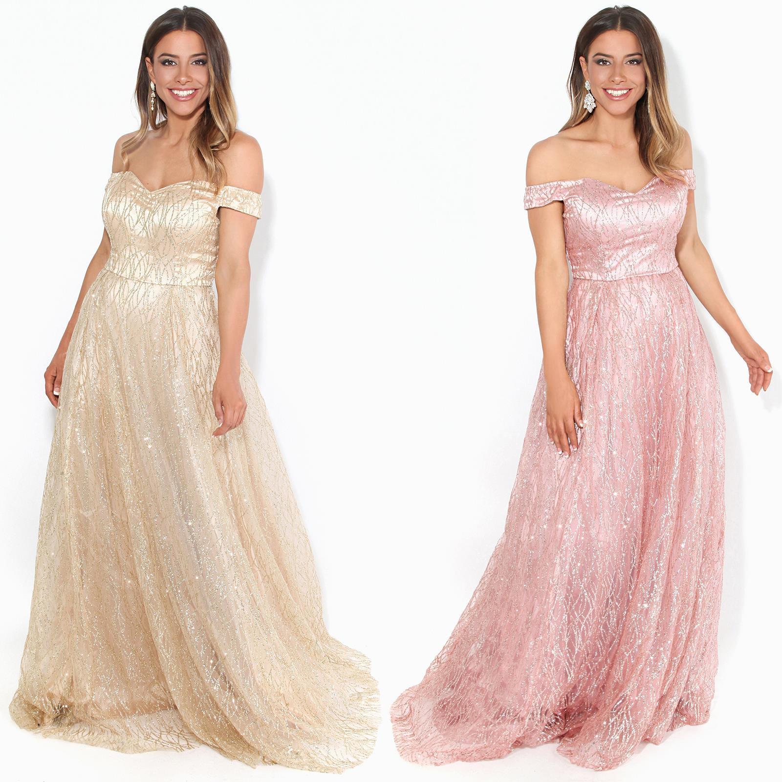 Details About Damen Festliches Abenkleid Glitzer Glänzendes Kleid A-Linie  Lang Hochzeit
