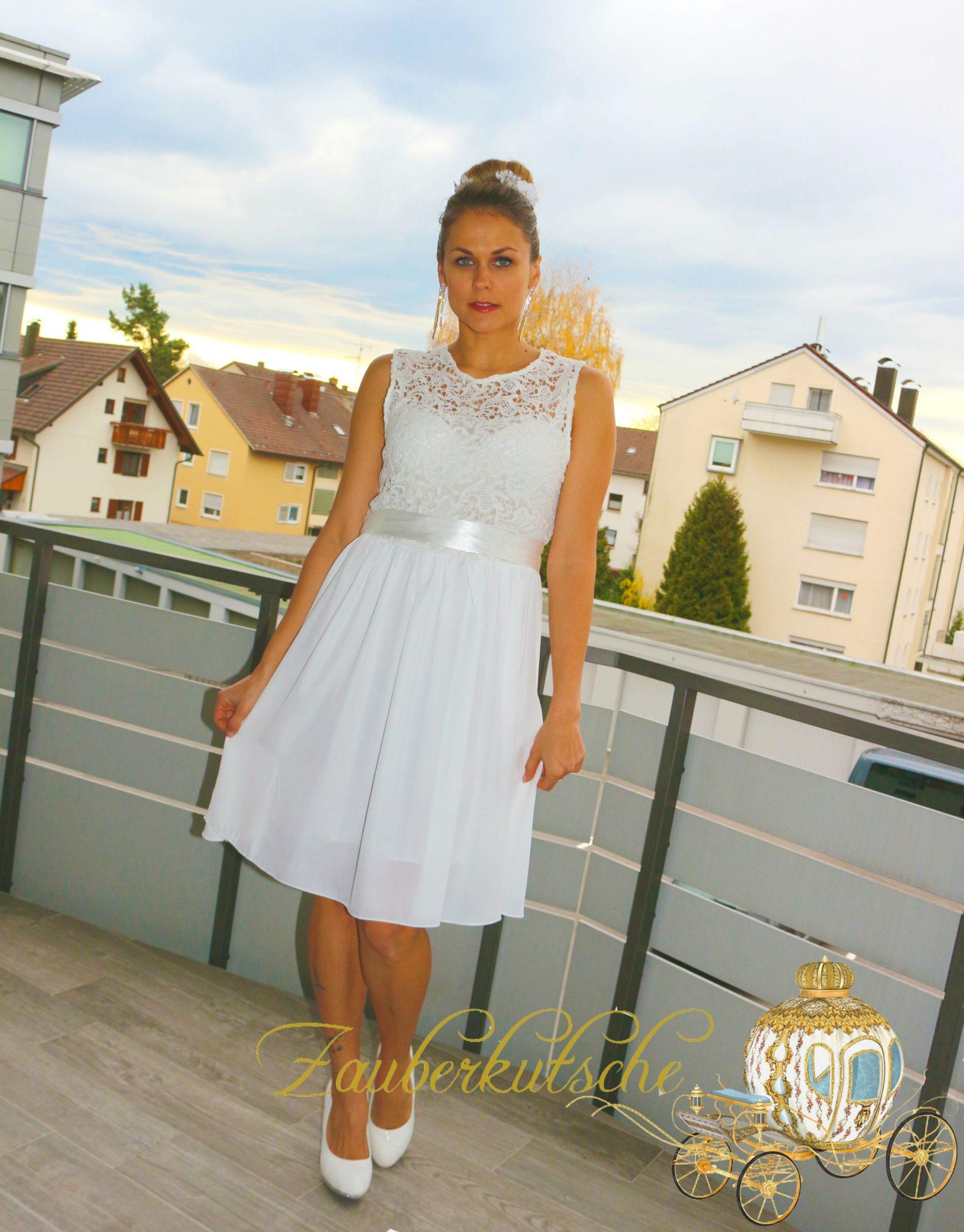 Details Zu Brautkleid Spitze Kurz Hochzeitskleid M L Xl Xxl Braut Kleid  Standesamt Weiß