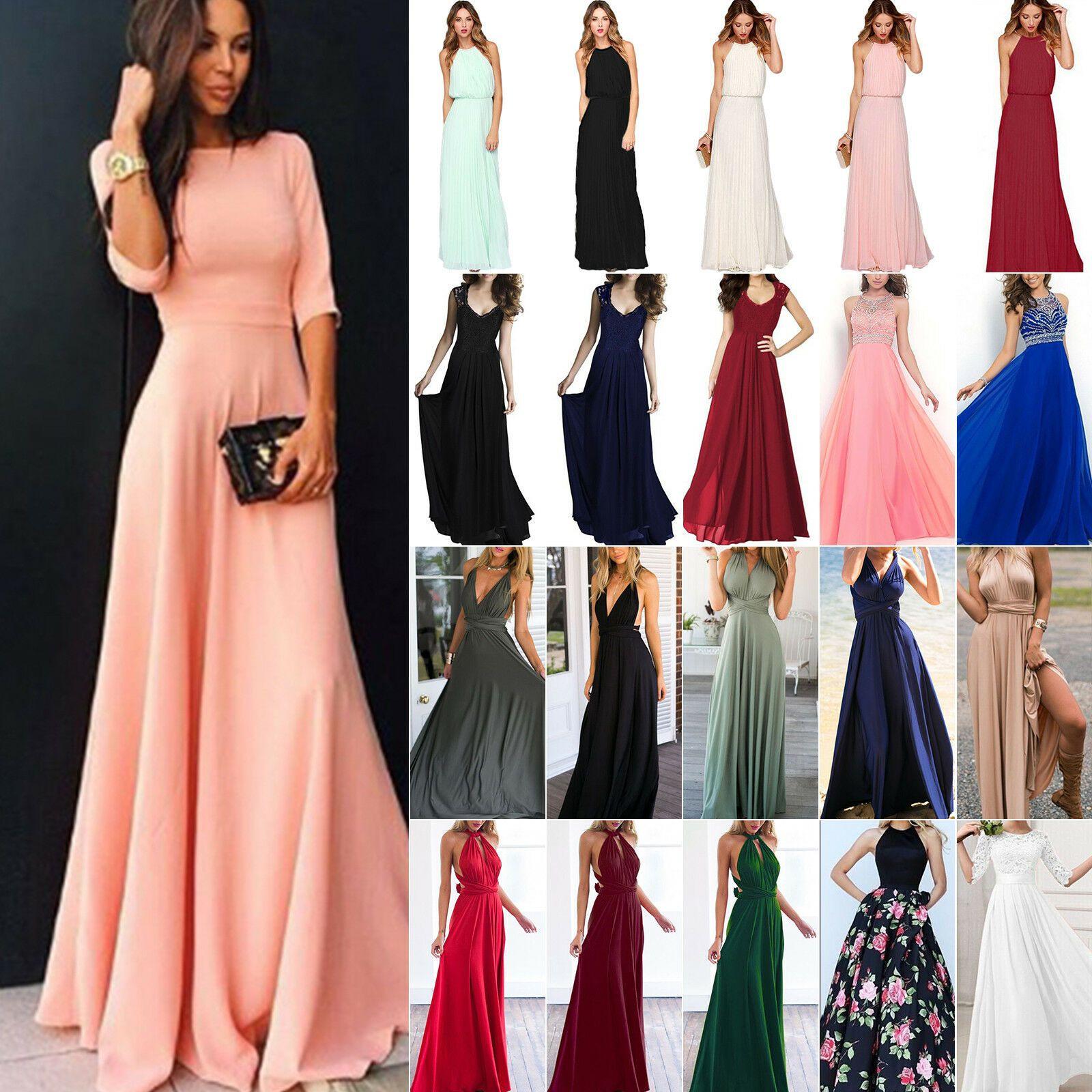 Details Zu Damen Chiffon Kleid Maxikleid Abendkleid
